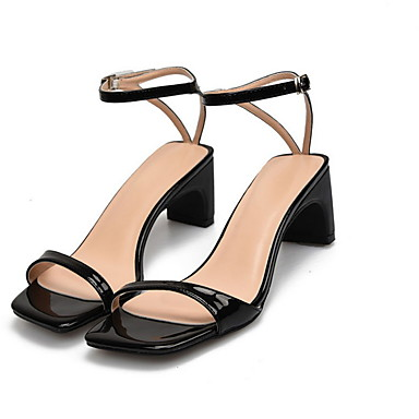 cheap Women's Sandals-Women's Sandals Summer Pumps Square Toe Daily PU Nude / Black / Red