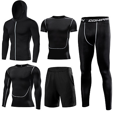 cheap Exercise, Fitness & Yoga-1bests Men's Full Zip Front Zipper Activewear Set Workout Outfits Compression Suit Athletic Long Sleeve 5pcs Elastane Lightweight Breathable Quick Dry Fitness Gym Workout Basketball Running Sportswear