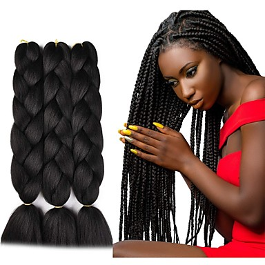 cheap Hair Extensions-Crochet Hair Braids Jumbo Box Braids Black Dark Brown Synthetic Hair Long Braiding Hair 6pcs 3pcs 1pc
