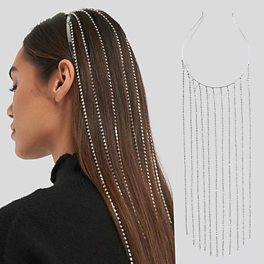 cheap Hair Jewelry-Women's Hair Jewelry For Wedding Party Evening Formal Promise Head Tassel Cubic Zirconia Rhinestone Silver 1pc