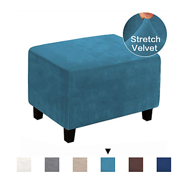 cheap Slipcovers-Ottoman Cover Velvet Slipcovers Rectangle Gray Footrest Sofa Slipcovers Footstool Protector Covers Stretch Fabric Storage Ottoman Covers High Spandex Velvet Slipcover Machine Washable