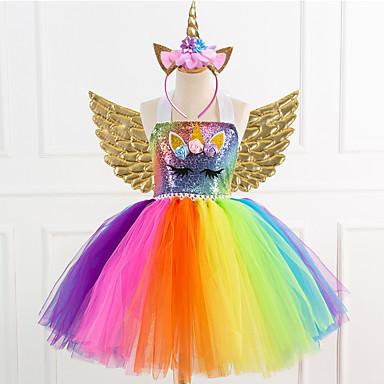 cheap Baby & Kids-Kids Girls' Active Vintage Unicorn Rainbow Patchwork Halloween Sequins Lace up Patchwork Sleeveless Knee-length Dress Blue