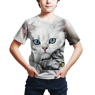 cheap Boys' Tops-Kids Toddler Boys' Active Street chic Cat 3D Animal Print Short Sleeve Tee Light gray