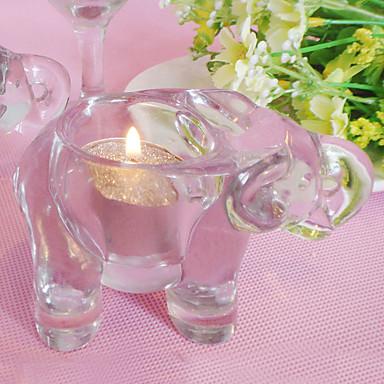 halpa Lahjat häävieraille-yksinkertainen norsun kynttilänjalka / klassiset kynttilänjalat / kirkas kristallilasi / ihanteellinen romanttisiin juhlaillallisille-1kpl