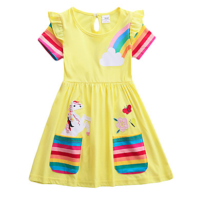 levne Děti & děti-Děti Dívčí Květina Sladký Unicorn Komiks Výšivka Krátký rukáv Délka ke kolenům Šaty Žlutá