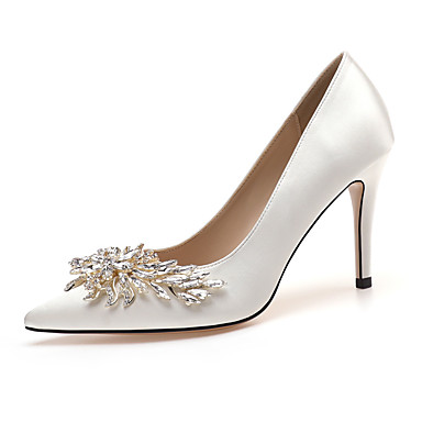 cheap Wedding Shoes-Women's Heels / Wedding Shoes 2020 Spring / Fall Stiletto Heel Pointed Toe Classic Sexy Sweet Wedding Party & Evening Rhinestone / Sparkling Glitter Solid Colored Satin White / Red / Pink