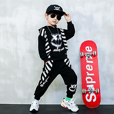cheap Boys' Clothing Sets-Kids Boys' Basic Striped Long Sleeve Regular Regular Clothing Set Black