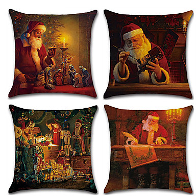 cheap Decorative Pillows-4pcs Christmas Cushion Cover Santa Claus Decorative Throw Pillow Cover Linen Pillowcases 18 x 18 inches/ 45 x 45 cm