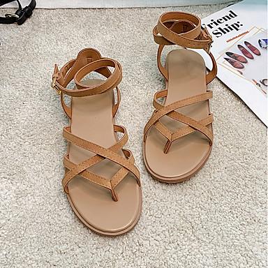 olcso Női cipők-Női Szandálok Római cipő Nyár Lapos Lábujj nélküli Napi PU Fekete / Barna