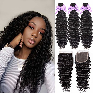 cheap 3 Bundles with Closure-3 Bundles with Closure Hair Weaves Peruvian Hair Deep Wave Human Hair Extensions Remy Human Hair 100% Remy Hair Weave Bundles 345 g Natural Color Hair Weaves / Hair Bulk Human Hair Extensions 8-24