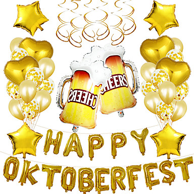 cheap Balloons-Party Balloons 31+10 pcs Oktoberfest Party Supplies Latex Balloons Boys and Girls Party Decoration 16inch for Party Favors Supplies or Home Decoration