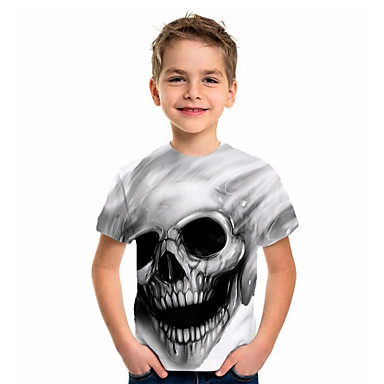 hesapli Kids CollectionUnder $8.99-Çocuklar Genç Erkek Temel Tatil Jakarlı Kısa Kollu Tişört Beyaz