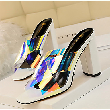 cheap Women's Shoes-Women's Sandals / Clogs & Mules Summer Block Heel Square Toe Daily Solid Colored PU Nude / White / Black