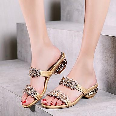 cheap Women's Sandals-Women's Sandals Summer Block Heel Open Toe Daily Solid Colored PU Black / Gold / Silver