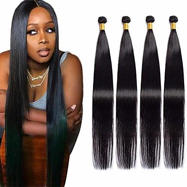 halpa Aitohiusperuukit-4 pakettia Hiuskudokset Intialainen Suora Hiukset Extensions Remy-hius 100% Remy Hair Weave -paketit 400 g Hiukset kutoo Aitohiuspidennykset 8-28 inch Luonnollinen väri Luonto musta Shedding / 8A