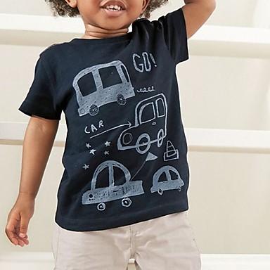 billige Baby & børn-Børn Drenge Basale Trykt mønster Kortærmet Tøjsæt Hvid