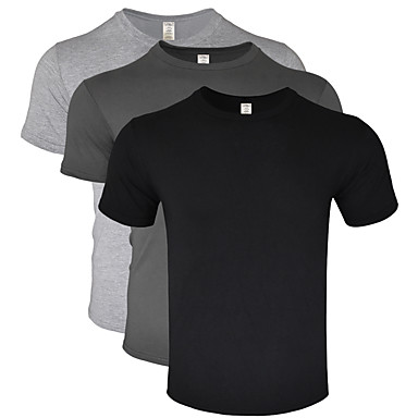 cheap Running, Jogging & Walking-Men's Running Shirt Casual 3 Pack Cotton Breathable Soft Sweat-wicking Fitness Gym Workout Running Everyday Use Jogging Sportswear Tee T-shirt Top Green+White+Purple White Black Dark Gray Light gray