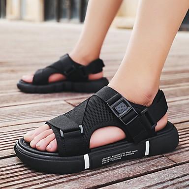 cheap Men's Shoes-Men's Summer Daily Sandals PU Black / Gold / Black / White / Black Color Block