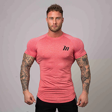 cheap Exercise, Fitness & Yoga-Men's Running T-Shirt Workout Tops Short Sleeve Breathable Soft Sweat Out Fitness Gym Workout Performance Running Training Sportswear Tee Tshirt Top White Black Blue Red Army Green Green Activewear