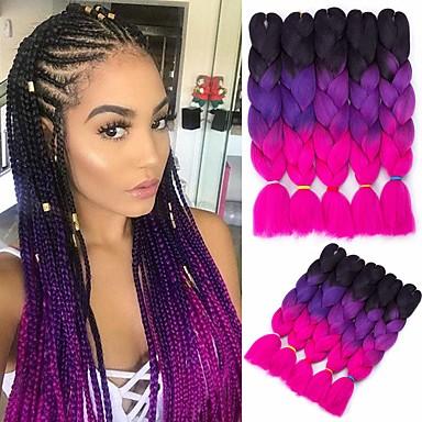 halpa Hiuspunokset-Virkkaa hiukset punokset Jumbo Box punokset Ombre Synteettiset hiukset Letitetty 6kpl 3kpl 1kpl