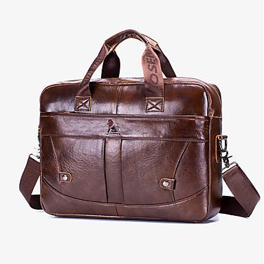 cheap Men's Bags-Men's Bags Cowhide Laptop Bag / Briefcase / Top Handle Bag Belt Zipper for Daily / Office & Career Brown