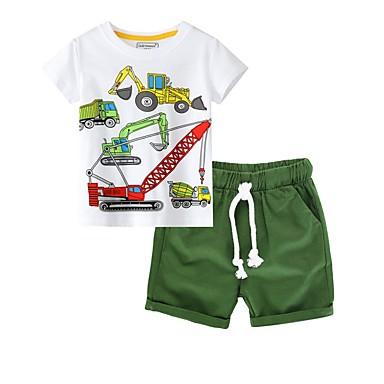 povoljno Beba & Djeca-Djeca Dječaci Osnovni Print Kratkih rukava Komplet odjeće Djetelina
