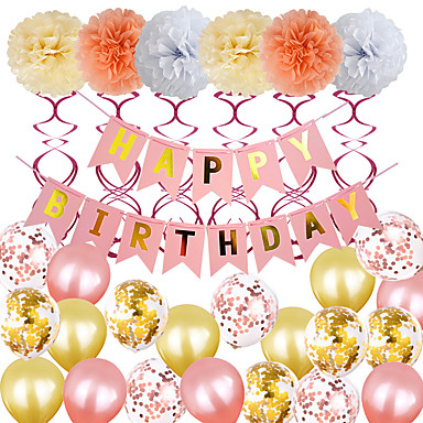 cheap Balloons-Party Balloons 20+9 pcs Pink Ribbon Party Supplies Latex Balloons Banner Boys and Girls Party Birthday Decoration 8-12inch for Party Favors Supplies or Home Decoration