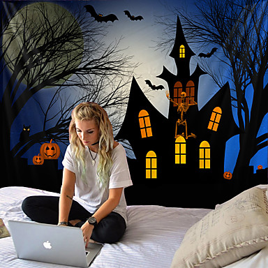 cheap Wall Tapestries-Halloween pumpkin tapestry room quilt wall art home decoration of tapestry Halloween tapestry