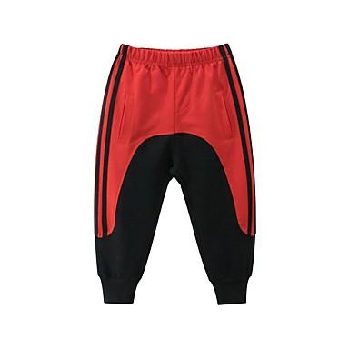 cheap Baby & Kids-Kids Boys' Basic Black & Red Color Block Patchwork Pants Rainbow