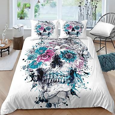 cheap Duvet Covers-Home Textiles 3D Bedding Set  Duvet Cover with Pillowcase 2/3pcs Bedroom Duvet Cover Sets  Bedding Skull