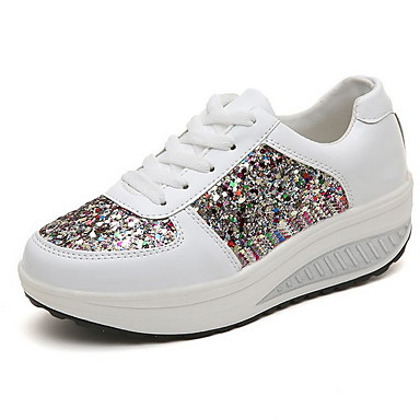 cheap Women's Shoes-Women's Sneakers Summer Hidden Heel Round Toe Daily Color Block PU White / Champagne / Silver