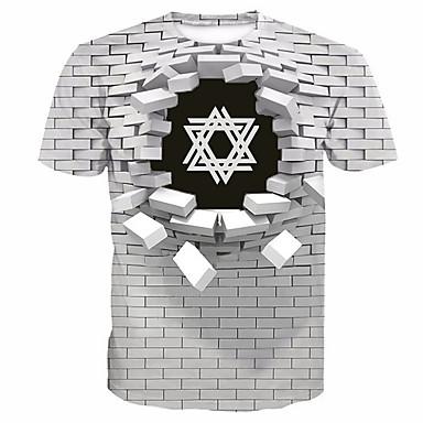 Men's Daily T-shirt - Geometric / 3D / Letter Print Round Neck White / Short Sleeve