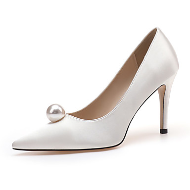 cheap Women's Shoes-Women's Heels / Wedding Shoes 2020 Spring / Fall Stiletto Heel Pointed Toe Classic Basic Sweet Wedding Party & Evening Imitation Pearl Satin White / Black / Red