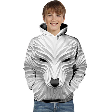 cheap Boys' Tops-Kids Toddler Boys' Active Basic Wolf Striped Geometric Animal Print Long Sleeve Hoodie & Sweatshirt White