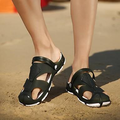 cheap Men's Shoes-Men's Summer Daily Sandals PU Black / Dark Blue / Gray Color Block
