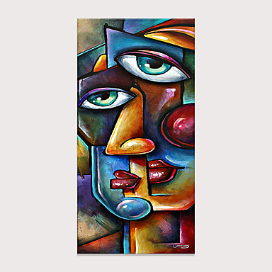 cheap Oil Paintings-Picasso Style Two-Faced Portrait Oil Painting Hand Painted Wall Art Photos Decor Living Room Bedroom Decoration No Frame Rolled Without Frame