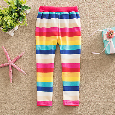 Baby & Kids-Kids Toddler Girls' Active Basic Red Striped Rainbow Lace up Leggings Rainbow