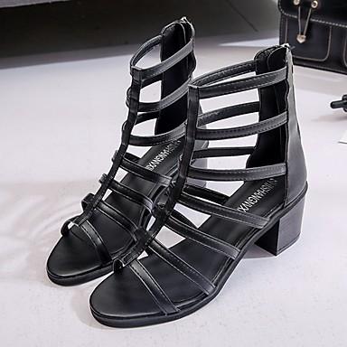 olcso Női cipők-Női Szandálok Római cipő Nyár Lapos Lábujj nélküli Napi PU Fekete