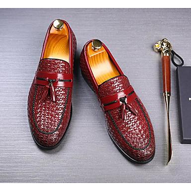 cheap Men's Slip-ons & Loafers-Men's Fall Casual Daily Loafers & Slip-Ons PU Wear Proof Wine / Black / Blue Striped / Tassel