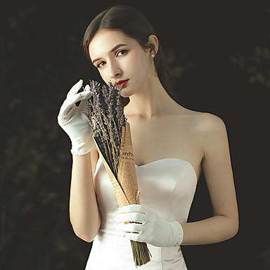 cheap Party Gloves-Satin Wrist Length Glove Stylish With Faux Pearl