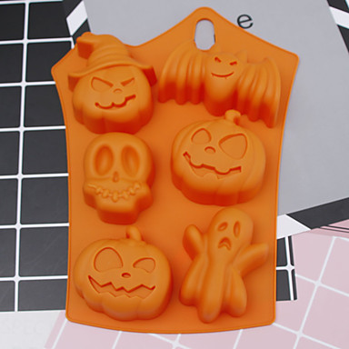 cheap Spooky Kitchen-Halloween Party Halloween Silicone Mold 6 Cavities Pumpkin Ghost Bat Shape Cookies Chocolate Molds