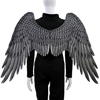 cheap Halloween Props-Angel Wings Cloak Adults' Men's Cosplay Halloween Halloween Festival / Holiday Nonwoven White / Black Men's Women's Easy Carnival Costumes