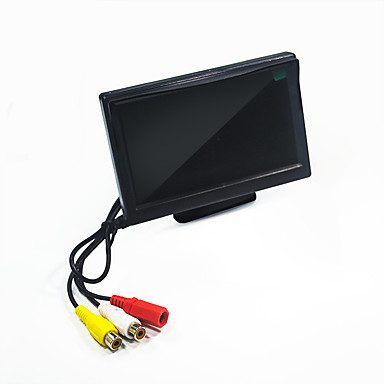 billige Bil Elektronikk-5 tommers bilmonitor lcd fargeskjermmonitor 24v / 12v for bilbussbil cctv bakover bakkamera brakett eller sugekopp valgfritt