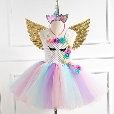 cheap Baby & Kids-Kids Girls' Flower Sweet Unicorn Rainbow Jacquard Christmas Mesh Patchwork Sleeveless Knee-length Dress Gold