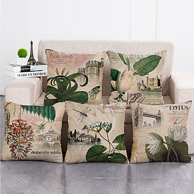 cheap Decorative Pillows-Set Of 5 Cushion Covers Sofa Decorative Cushions Pillow Cover 45*45 cm Linen Beige Pillow Case