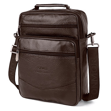 cheap Men's Bags-Men's Bags Nappa Leather / Cowhide Crossbody Bag Zipper Solid Color for Daily / Office & Career Black / Brown / Fall & Winter