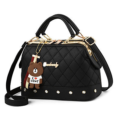 cheap Crossbody Bags-Women's Bags PU Leather / Polyester Crossbody Bag Chain for Holiday / Date White / Black / Red / Blushing Pink