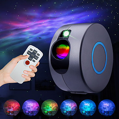 cheap Projectors-Laser Galaxy Starry Sky Projector Rotating Water Waving Night Light Led Colorful Nebula Cloud Lamp Atmospher Bedroom Beside Lamp