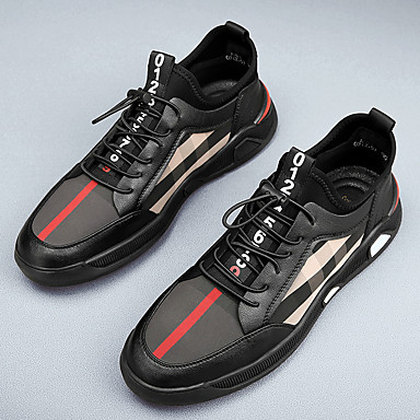 cheap Men's Sneakers-Men's Summer Casual / Preppy Daily Office & Career Sneakers Walking Shoes PU Breathable Shock Absorbing Black Color Block