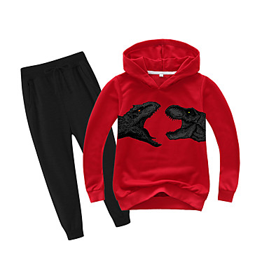 cheap Boys' Clothing Sets-Kids Boys' Basic Holiday Daily Wear Vacation Dinosaur Print Print Long Sleeve Regular Regular Clothing Set Red